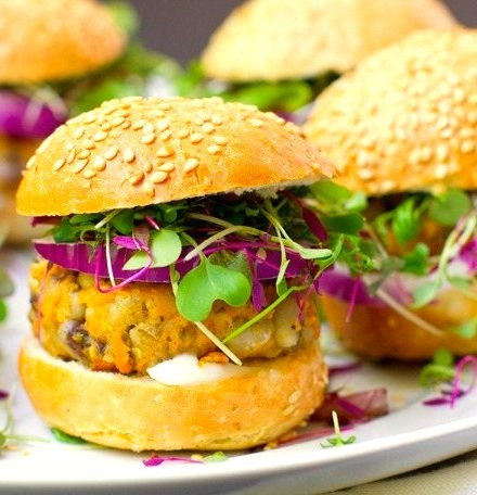 sweet potato sliders with sprouts and avocado