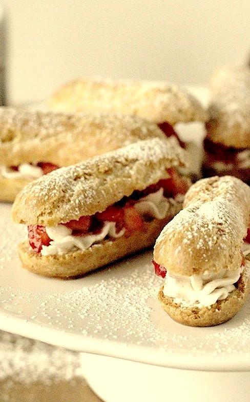 Mini Strawberries and Cream Eclairs