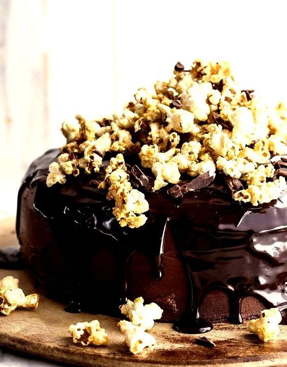 Hazelnut Chocolate Cake with Ganache and Hazelnut Popcorn