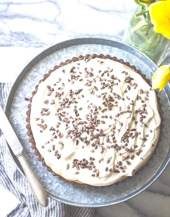Rum-Kissed Banana Butterscotch Cream Tart in a Cocoa-Buckwheat Crust {Gluten-Free}