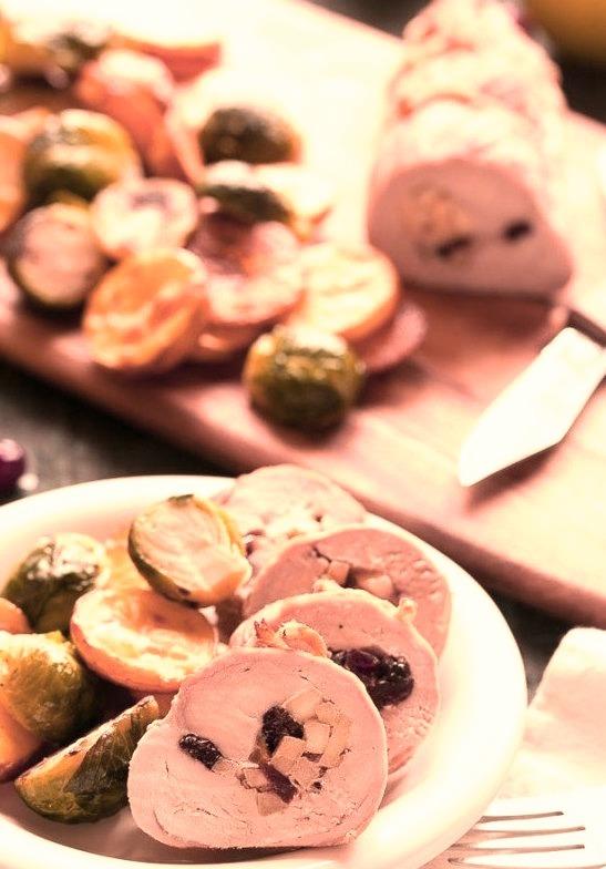One pan stuffed pork tenderloin with vegetables